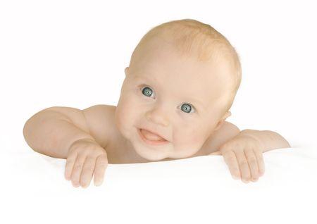 cute baby holds empty blank board