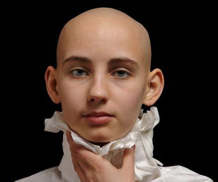 portrait cancer survivor girl on black background, Stock Photo