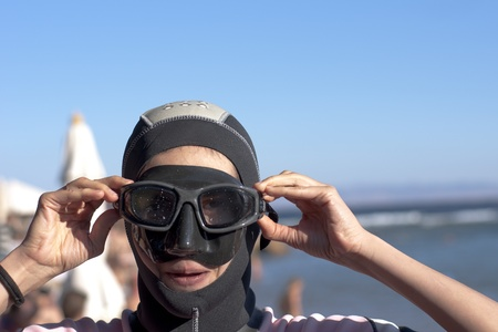 portrait girl-diver in mask and swimsuit, from seria Stock Photo - 8765751