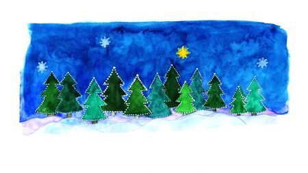 watercolor painted greeting card for Christmas, minimalist night forest, 16:9, free space for warm words! Stockfoto