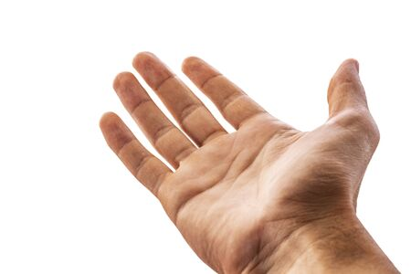 A person needs help, asks for a donation.Man stretches out his hand up