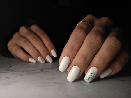 Snow-white gel Polish with a green twig. Long square nails with white coating and green twig design.