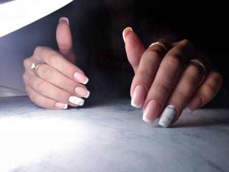 Awesome french manicure with marble design Zdjęcie Seryjne