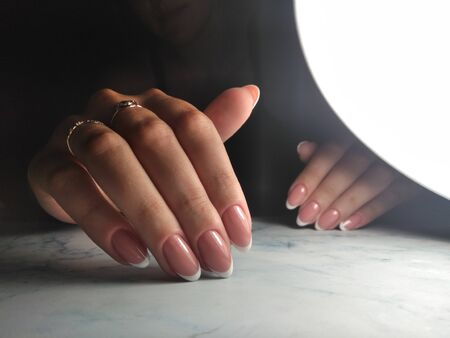 Awesome french gel polish with tidy manicure