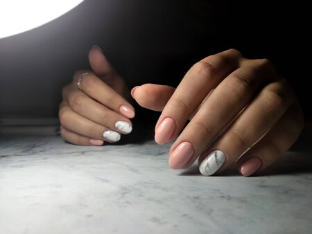Awesome camouflage manicure with marble design