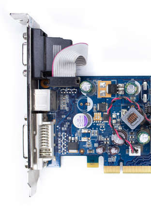 A microchip with components in close-up. A processor with resistors, transistors and chip components. Processor for PC