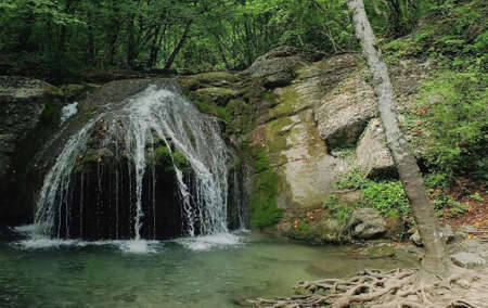 Waterfall in the forest. Water flows down from the stone in all directions.