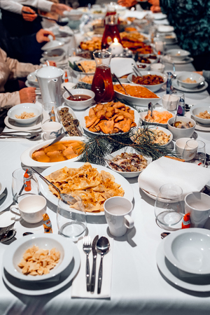 table with Christmas Eve supper