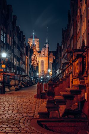 Gdansk old town at night Stock Photo