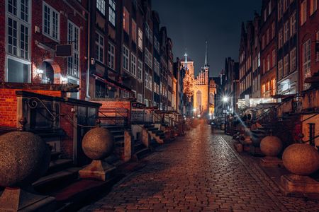 Gdansk old town at night Stok Fotoğraf