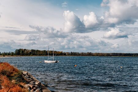 a small fishing harbor in Rewa Stock Photo