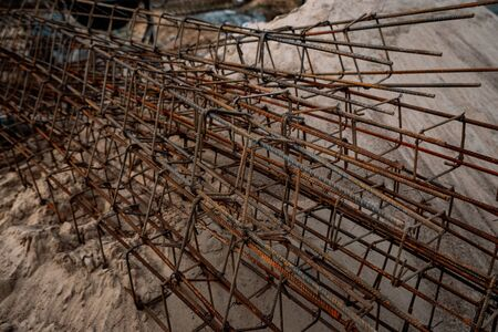 construction reinforcement at the construction site 스톡 콘텐츠