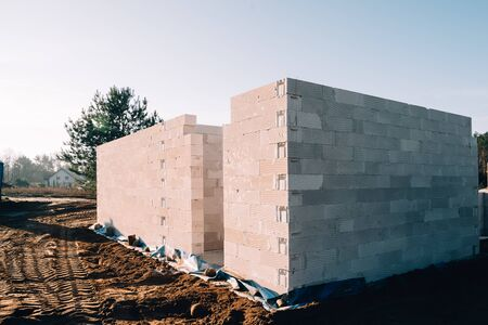 construction site for a single-family house made of cellular concrete
