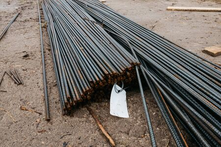 reinforcing steel at the construction site