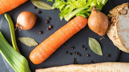mix of fresh vegetables for the soup Banco de Imagens