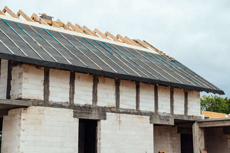 construction of the house roof structure Zdjęcie Seryjne