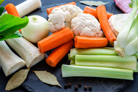 fresh soup vegetables prepared for cooking broth Stockfoto