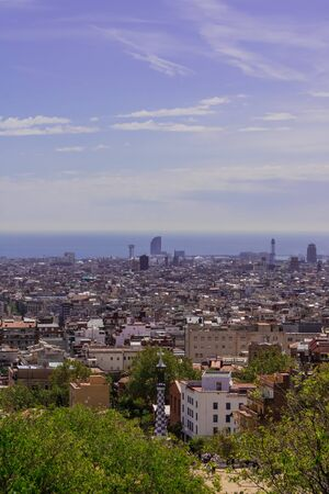 BARCELONA, SPAIN - 20 APRIL 2019: Beautiful city view on a sunny day  - Image