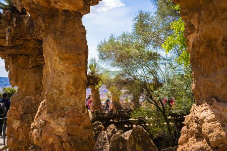 Viaduct and tourists in  Park Güell in Barcelona  - Image Editorial