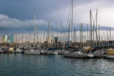 Boats at Dersena Nacional Port in Barcelona, Spain - Image