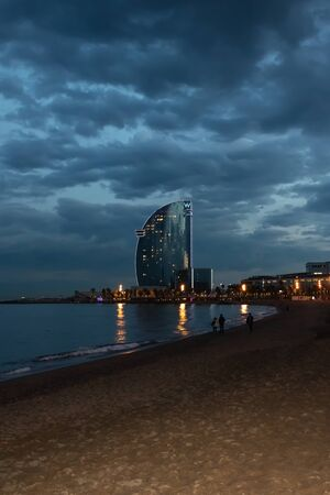 W Hotel in Barcelona at evening - Image