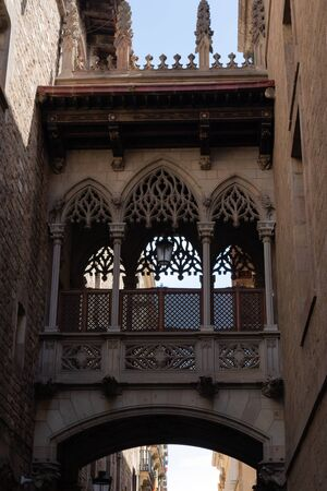 Pont del Bisbe - beautiful passage in Barri Gotic (Gothic quarter) in Barcelona, Spain - Image