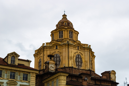 San Lorenzo church view in Turin, Italy on a rainy day - Image