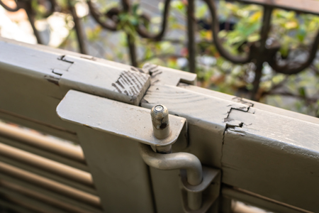 Vintage balcony door with the latch closeup - Image