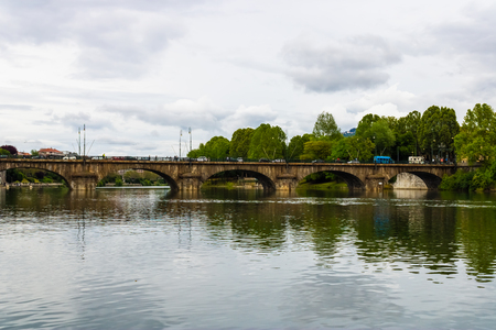View at Po river, park and Bridge Umberto I in Turin, Italy - Image