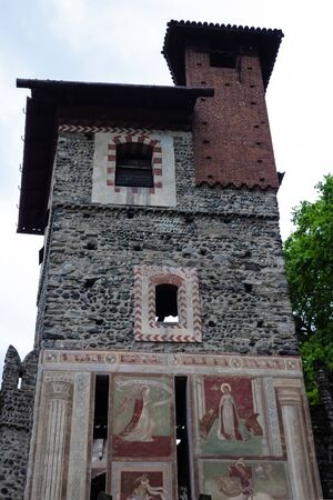 TURIN, ITALY - 25 May 2019: The Tower in Valentino's medieval village  - Image