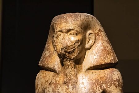 TURIN, ITALY - 25 May 2019: Egyptian statue of governor Wahka at the Egypt Museum - Image
