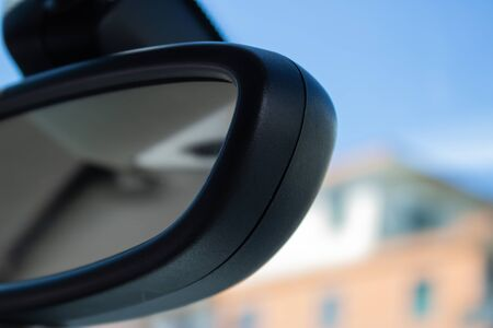 Car rear view mirror view from the car - Image Imagens