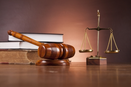 Scales of justice with ambient light Stock Photo - 16114413