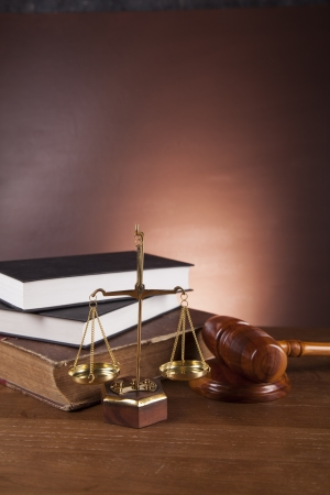 Wooden gavel and justice stuff Stock Photo - 16114503