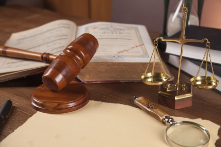 Wooden gavel and justice stuff photo