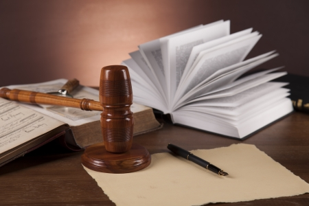 Wooden gavel and justice stuff Stock Photo - 16114429