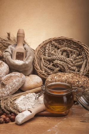 ambient light: Loaves of bread, rolls, cereals with ambient light