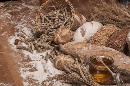 traditional goods: Country theme with traditional baking goods Stock Photo