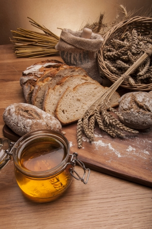 Country theme with bread Stock Photo