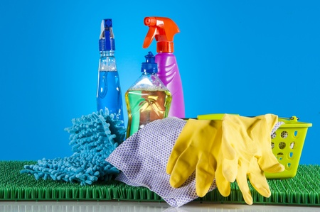 Cleaning equipment on light background Stock Photo