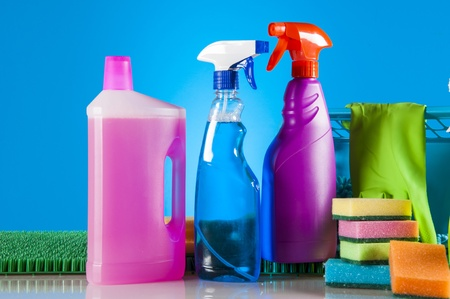 Cleaning equipment with hard light and saturated colors photo