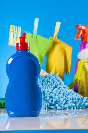 Cleaning concept on saturated blue background photo