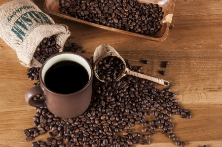 Decorative coffee beans concept