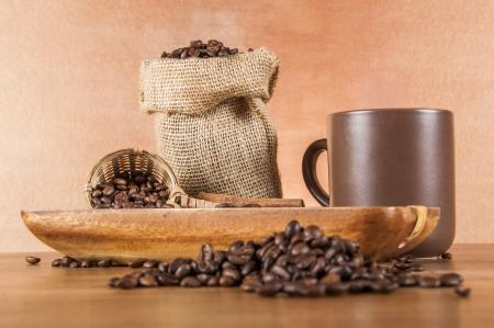 Italian coffee on wooden table