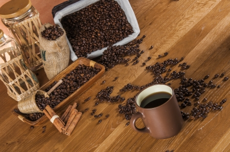 Traditional rural coffee theme on wooden table