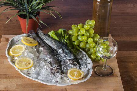 Raw fish, mediterranean composition