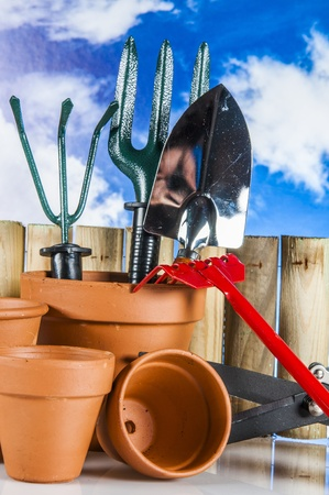 Gardening theme with hard light and saturated colors