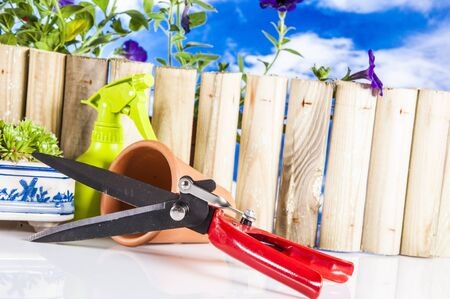 Gardening stuff with blue sky background