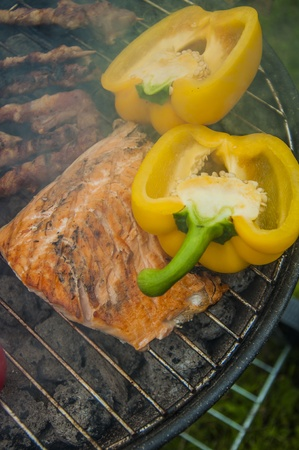 Spring grilling theme, vivid colors photo