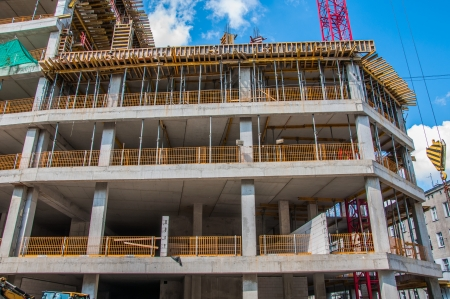 Concrete building, construction site Stock Photo